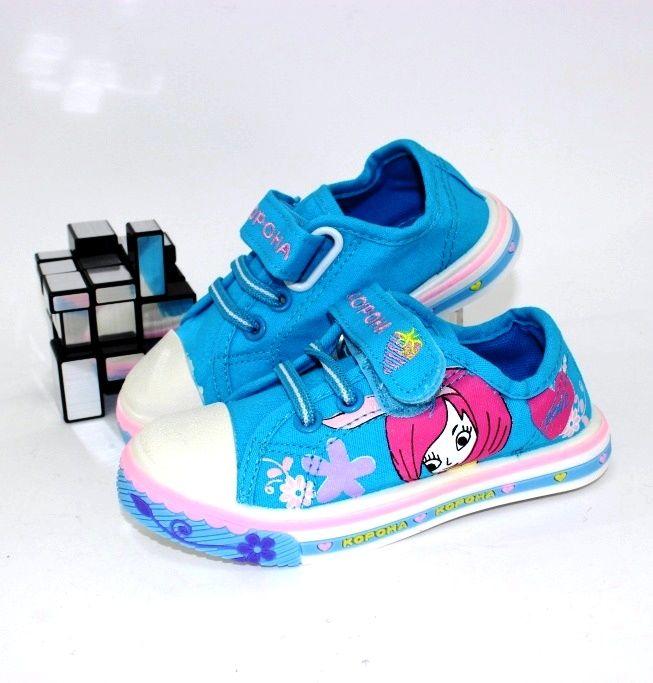 Кеды голубые для девочек 1351Z - купить детские кроссовки для садика