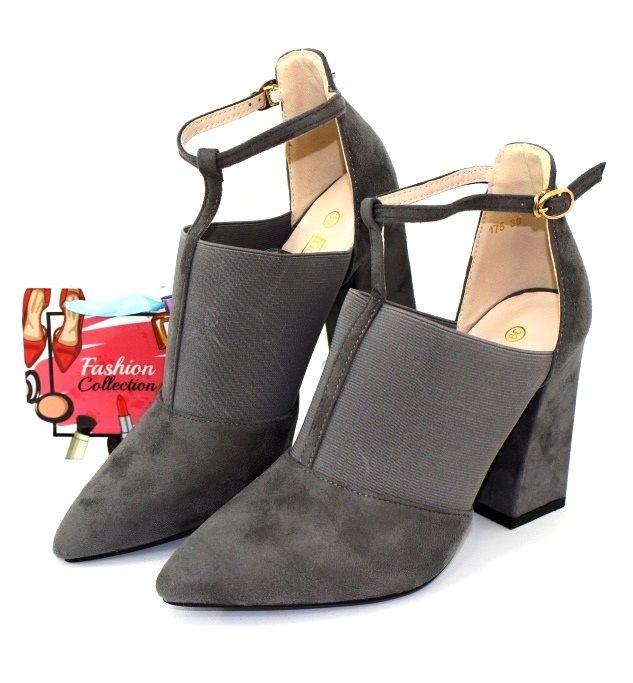 Модные замшевые туфли 175-l.grey - туфли на шпильке, туфли в украине, туфли со стразами