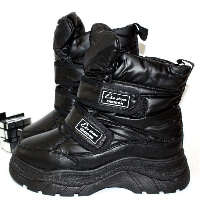Дутые женские счерные ботинки на платформе липучки