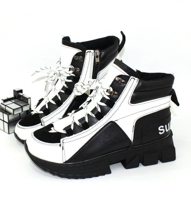 Спортивные модные ботинки на толстой подошве 1977-white - купить зимнюю обувь