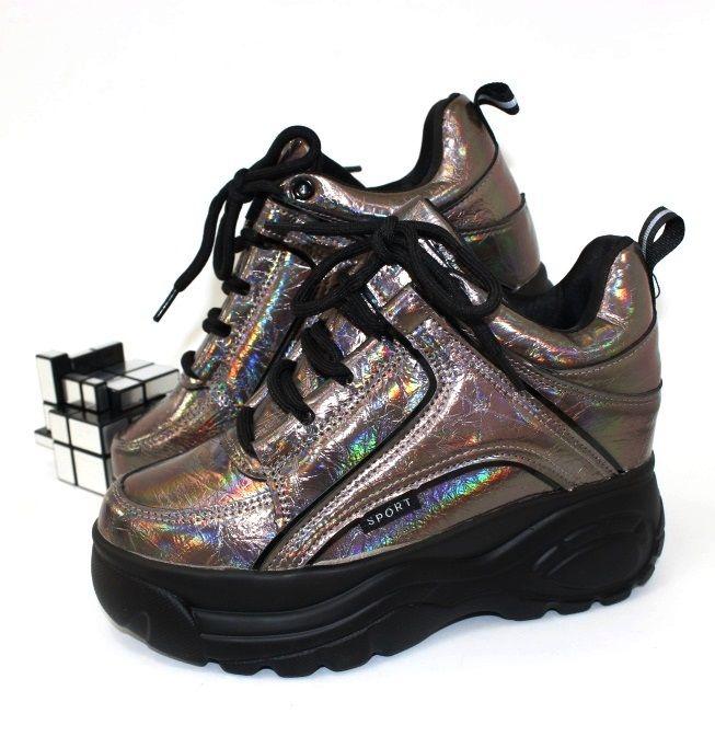 Молодёжные сникерсы 20-715 - кроссовки на платформе, купить кроссовки на танкетке