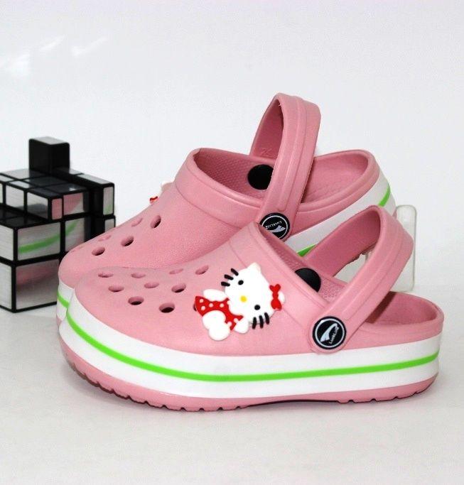Детские розовые кроксы Китти для девочек