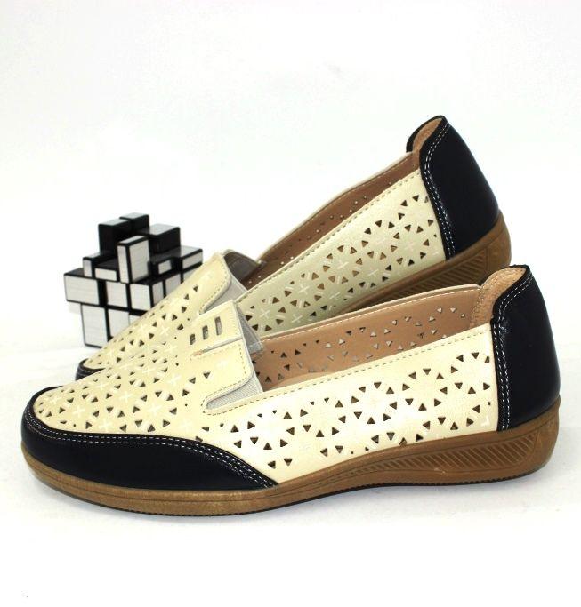 Женская летняя обувь, туфли летние бежевые, мокасины с дырочками недорого