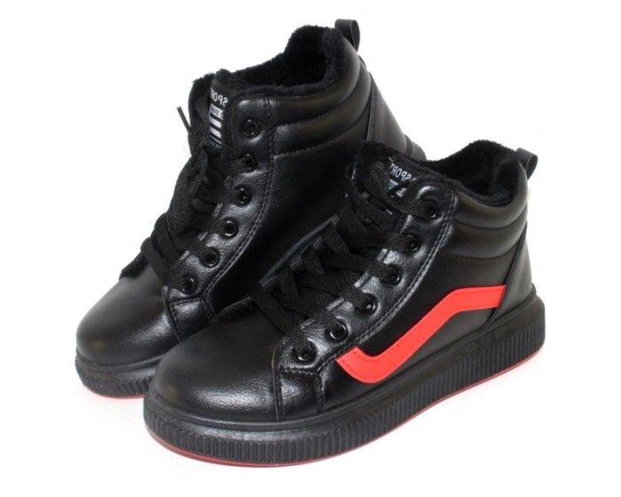 Зимние спортивные ботинки 3650-black-red - купить зимнюю обувь