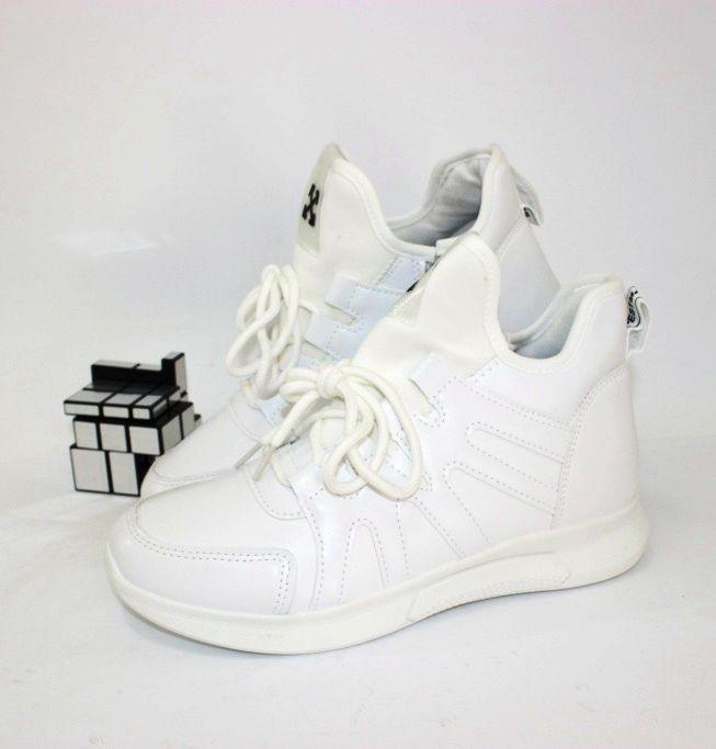 Высокие белые кроссовки 55-161  - купить в интернет магазине в Запорожье, Днепре, Харькове
