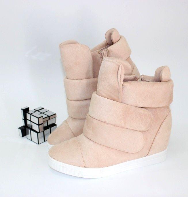 Молодёжные ботинки пудрового цвета 6506-26 - кроссовки на платформе, купить кроссовки на танкетке