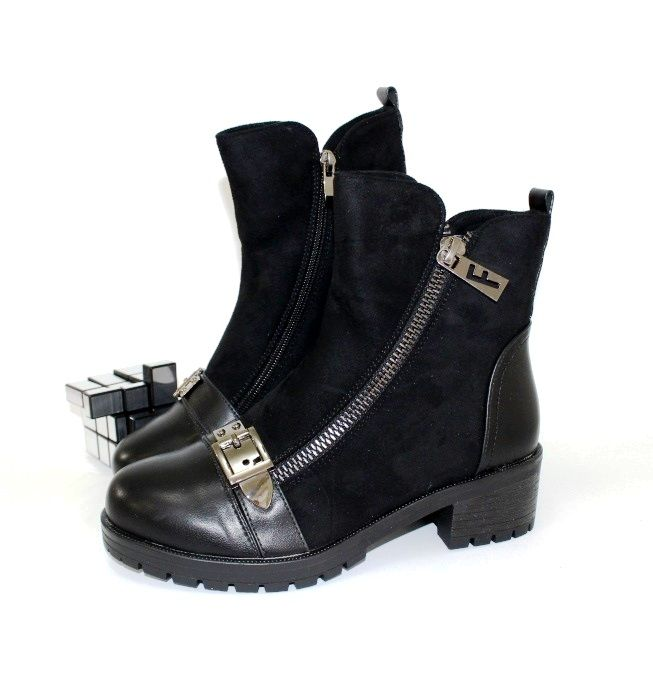 Ботинки весенние и осенние - Комфортные демисезонные ботинки 812-636-black