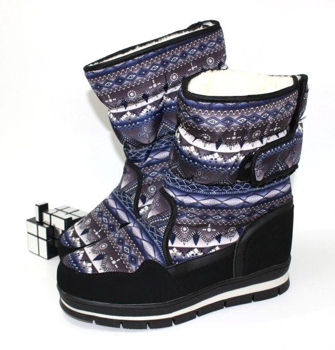 Тёплые сапоги дутики с орнаментом 9796-1 - стиль, комфорт, удобство.