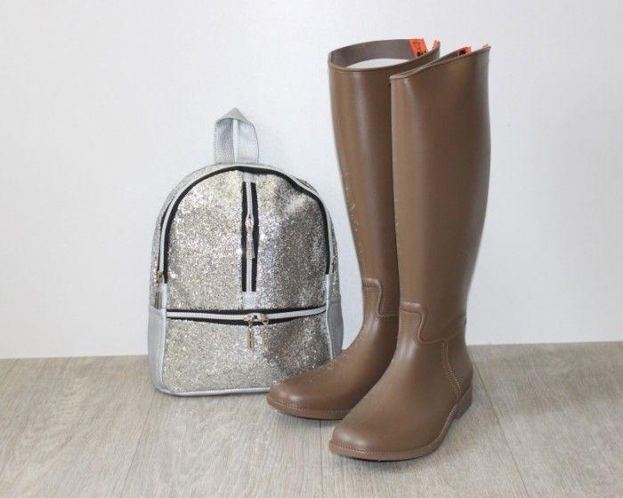 Бежевые силиконовые сапоги сзади молния B659-14 BEIGE - резиновые сапоги купить в интернет-магазине Сан-Даль.