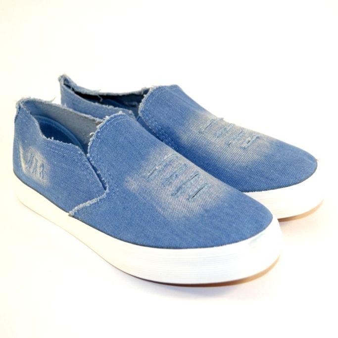 Детские джинсовые слипоны CB-18 голубой джинс - в интернет магазине детских кроссовок для мальчиков
