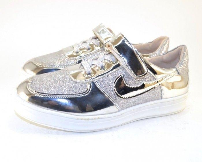 Классные кроссовки A1601 СЕРЕБРО - купить девочкам для школы