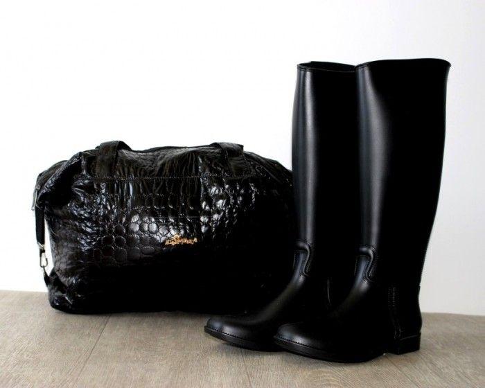 Силиконовые сапоги сзади молния B659-1C BLACK/ORANG - резиновые сапоги купить в интернет-магазине Сан-Даль.