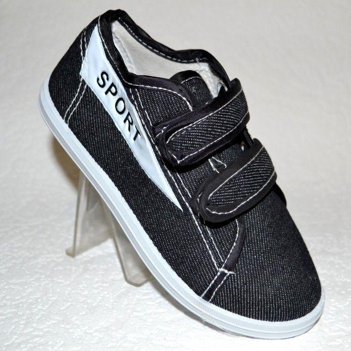 Кеди джинс на двох липучках 155-2 черн - в інтернет магазині дитячих кросівок для хлопчиків