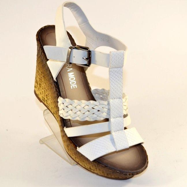 Босоножки на танкетке в Запорожье, купить женскую летнюю обувь в Сандале, белые женские босоножки