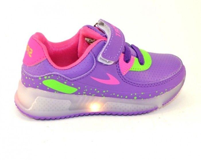 Яскраві кросівки з ліхтариками F651-6 purple - купити дитячі кросівки для садка