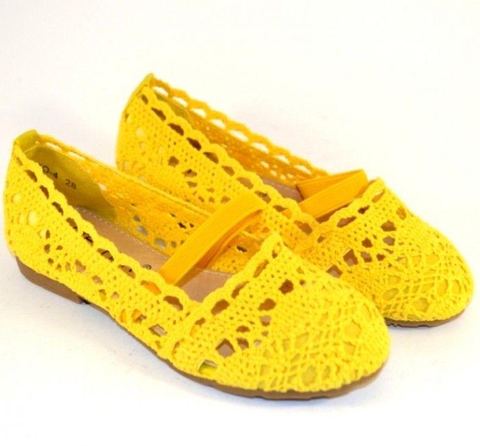 Купити балетки жовті для дівчинки, мереживні дитячі балетки в Запоріжжі
