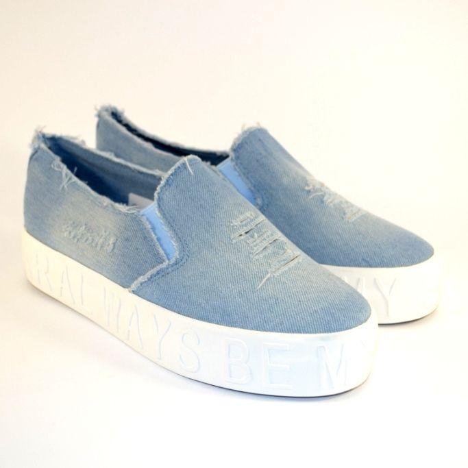 Купити джинсові кеди сліпони в Запоріжжі, взуття жіноче джинсова недорого