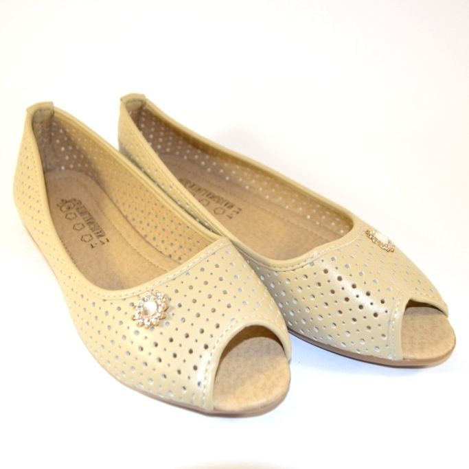 Жіночі бежеві туфлі з відкритим носком, купити жіночі туфлі літні