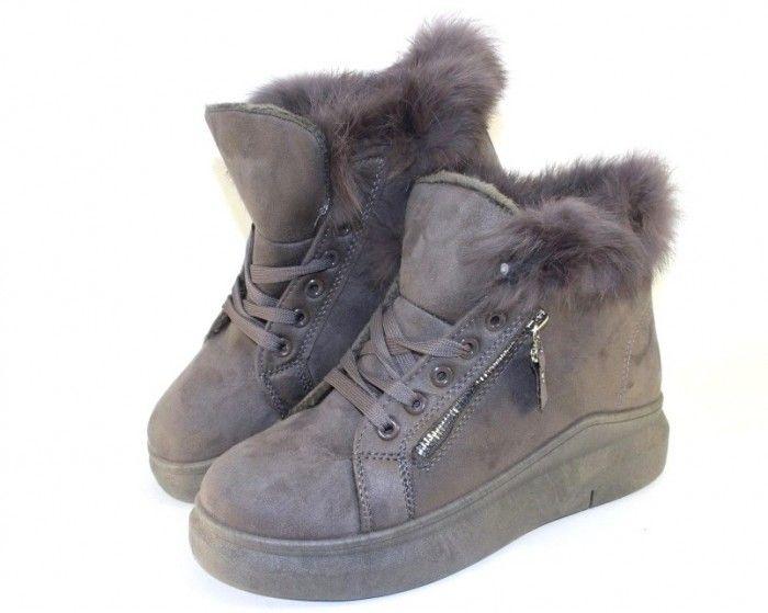 Комфортные ботинки женские A-20-grey - купить зимнюю обувь