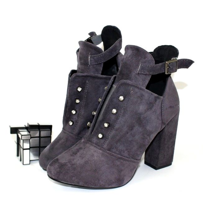 Ботинки весенние и осенние - Классные женские ботинки A65-1-grey