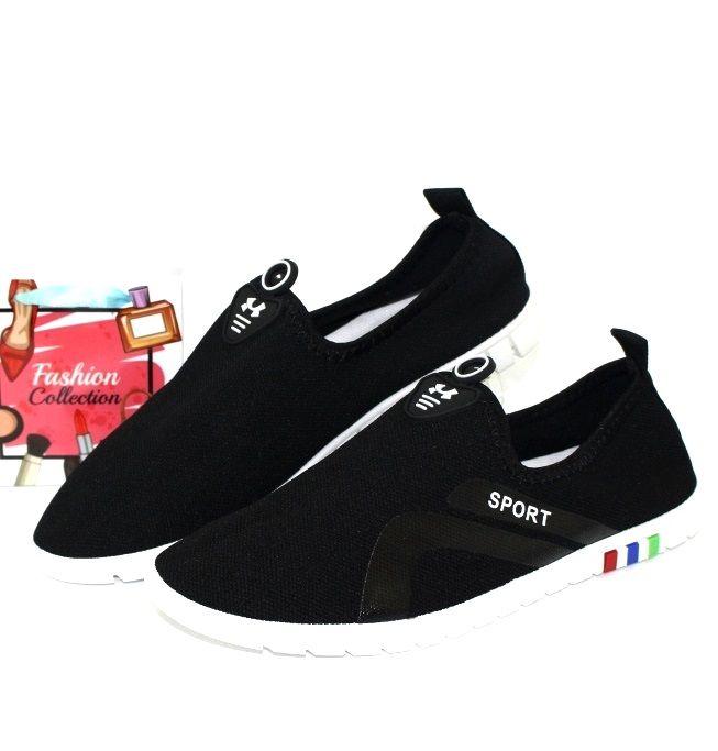 Лёгкие стрейчевые слипоны AESD-K-5 black - купить кеды в стиле Vans в интернет магазине обуви