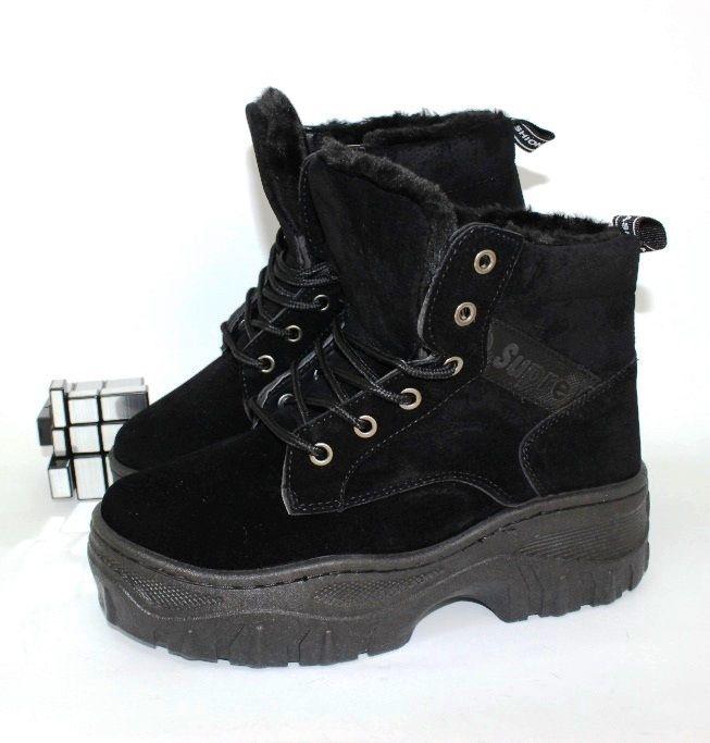 Стильные замшевые ботинки AH700-1 - купить зимнюю обувь