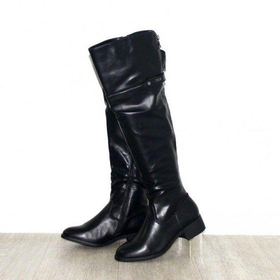 Весняні чоботи - високі чоботи жіночі осінні B-319 BLACK