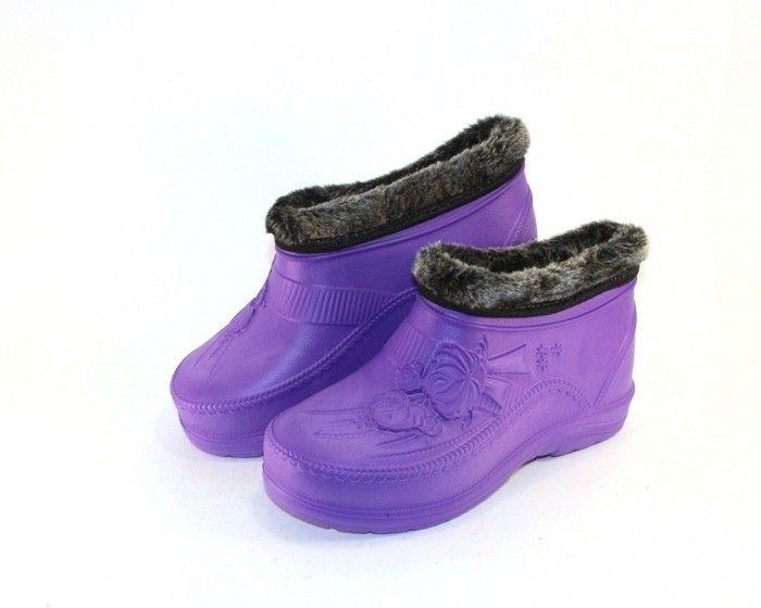 сиреневые женские галоши на меху B-32 - купить зимнюю обувь