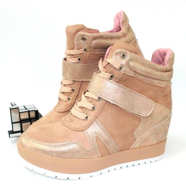 Молодёжные сникерсы BF5-pink - кроссовки на платформе, купить кроссовки на танкетке