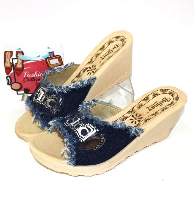 Купити джинсові шльопанці в сандалях, шльопанці жіночі недорого в Запоріжжі
