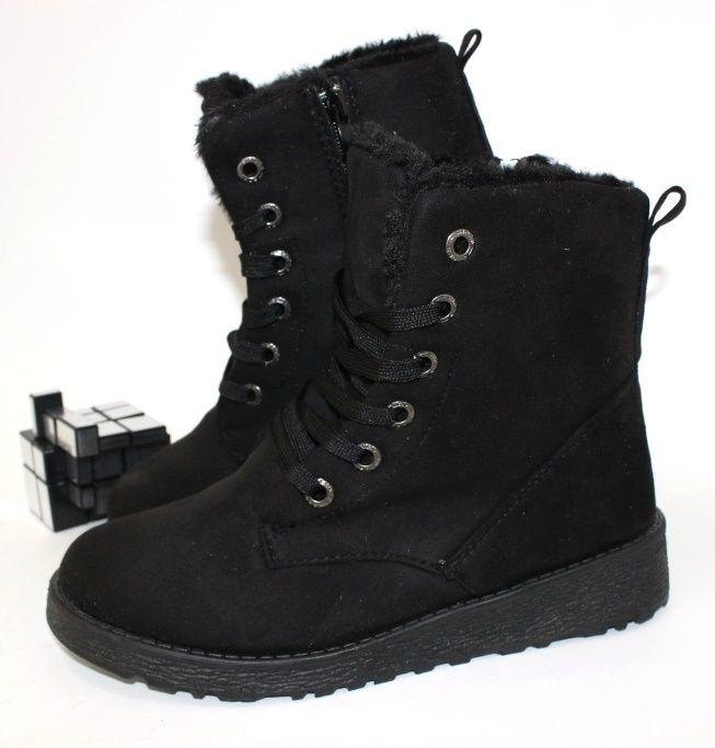 Комфортные замшевые ботинки E03-1BLACK - купить зимнюю обувь