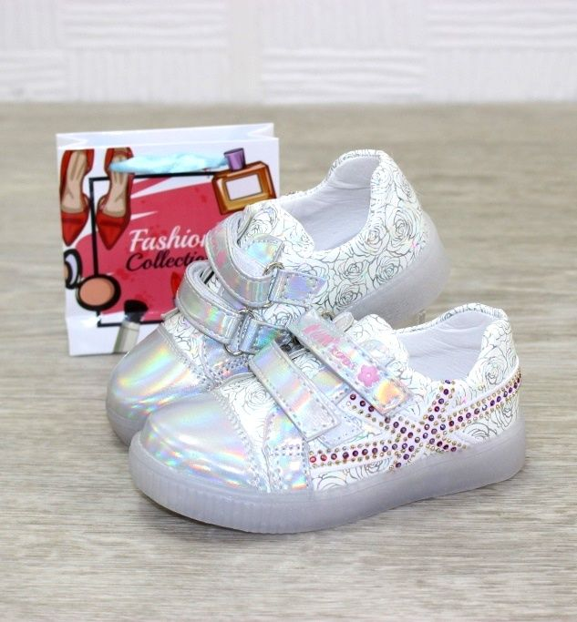 Кроссовки для малышей на липучках E30-silver - купить детские кроссовки для самых маленьких девочек