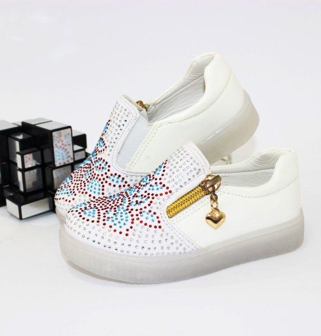 Слипоны для девочки E33 WHITE - купить детские кроссовки для самых маленьких девочек