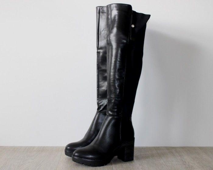 Весенние сапоги - Стильные ботфорты на устойчивом каблуке ES8515