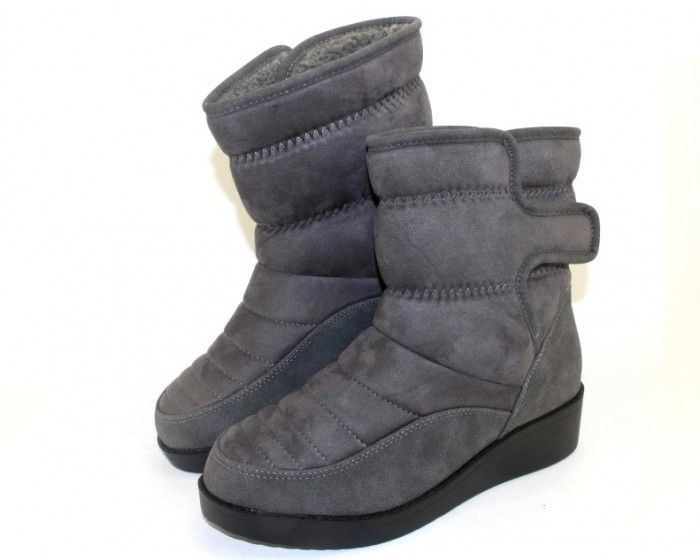 Удобные полусапоги зимние F176P Grey - купить зимнюю обувь
