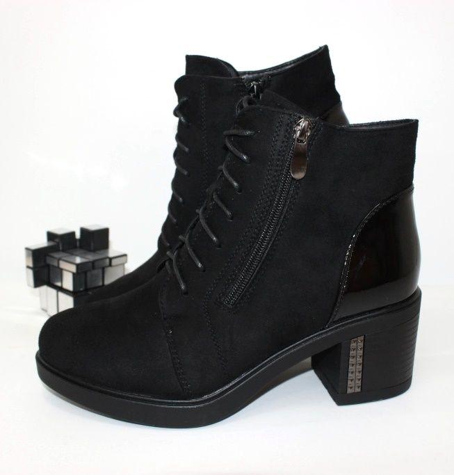Ботинки весенние и осенние - Ботинки женские устойчивій каблук F61-2