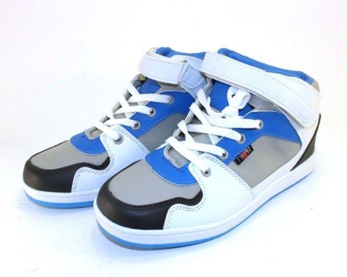 Сникерсы FP 760-2 BLUE для девочек, осенние детские ботинки сникерсы, купить сникерсы FP 760-2 BLUE бело-фиол для детей