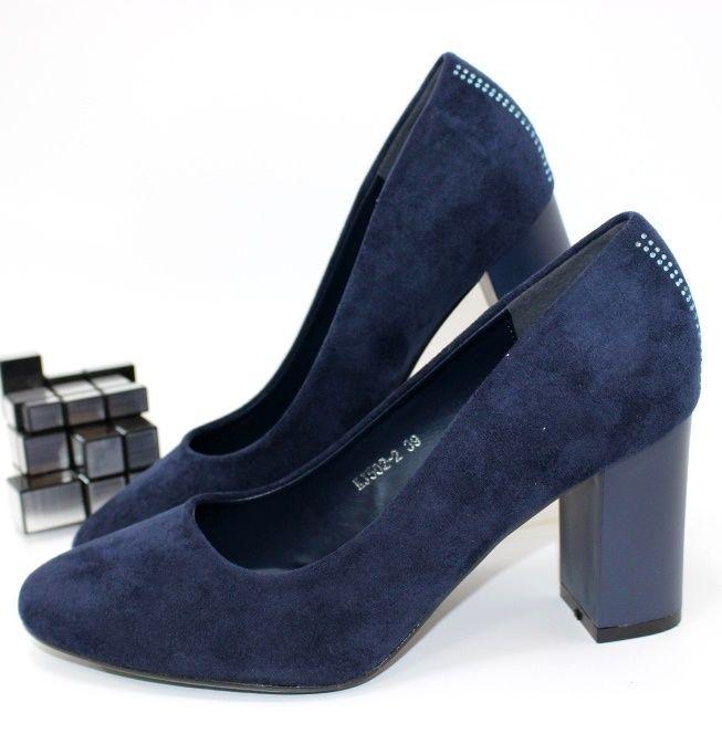 Красиві замшеві жіночі туфлі в синьому кольорі замшеві