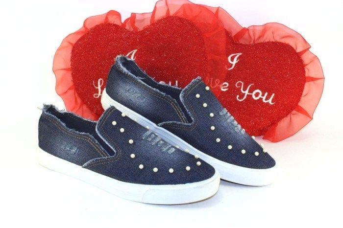 Джинсовые слипоны Diana-48-синий - купить кеды в стиле Vans в интернет магазине обуви