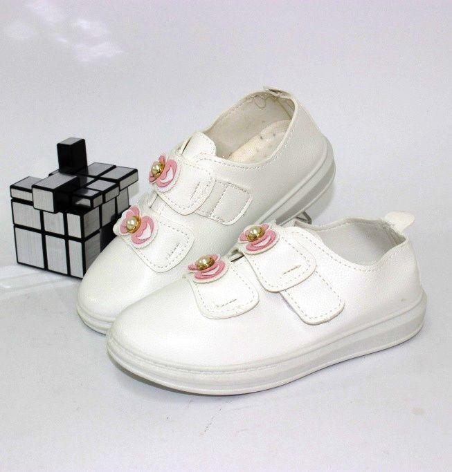 Стильні білі кеди KV101-6 - купити дівчаткам для школи