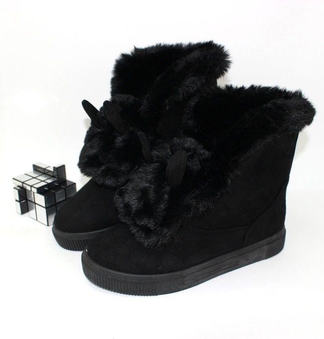Ботинки с ушками замшевые LEB-371-black - купить зимнюю обувь