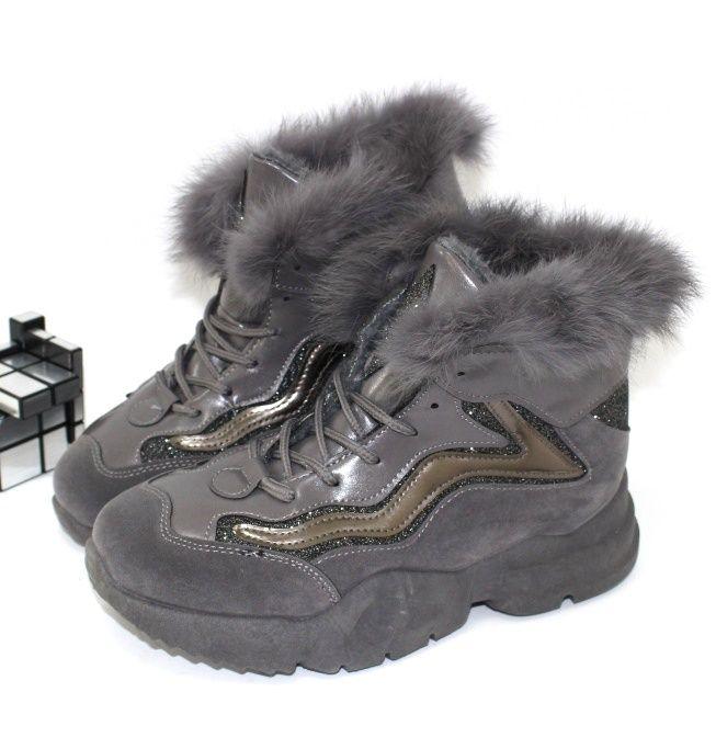 Классные ботинки с опушкой LS2062grey - купить зимние кроссовки
