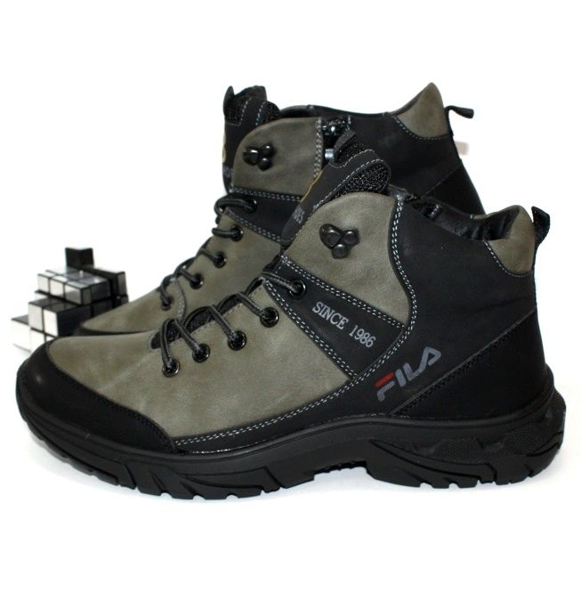 Серые мужские ботинки молния шнурок под бренд