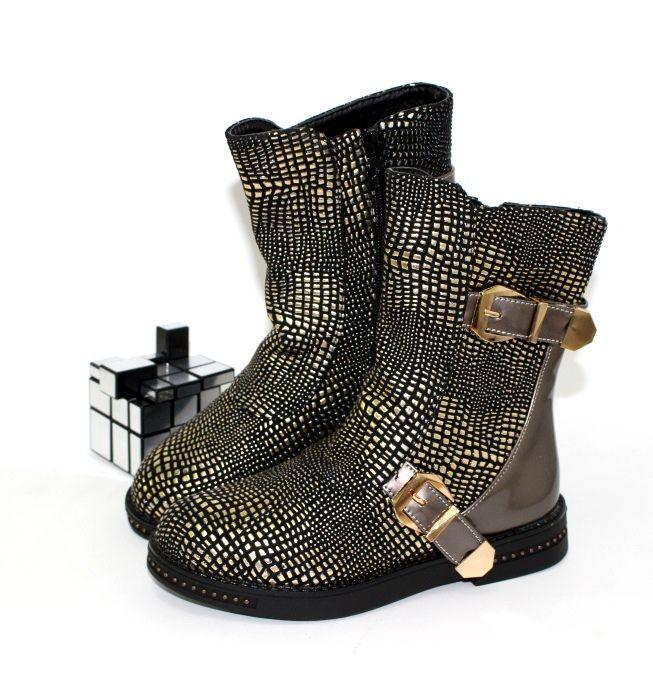 Оригинальные детские сапожки E118-4-gold - ботинки для девочек демисезон, детская обувь интернет магазин, обувь детская скидки, осенняя обувь