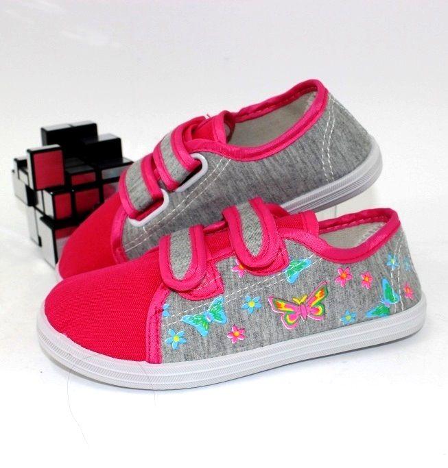 Кеды на липучках OB3982-pink - купить девочкам для школы