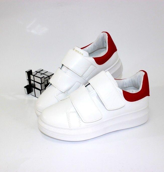 Белые оригинальные кроссовки на липучках P703-1 - купить девочкам для школы