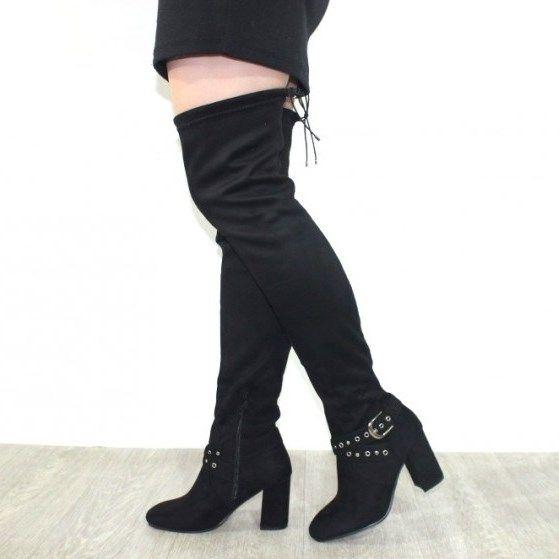 Весенние сапоги - классные стильные ботфорты S169 BLACK