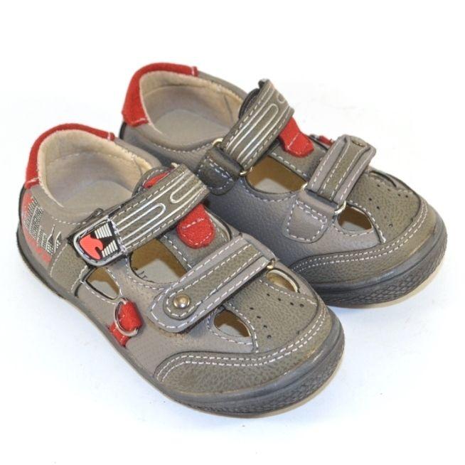 Босоніжки закриті сірі для хлопчиків, купити дитячу літнє взуття в Запоріжжі, босоніжки Україна