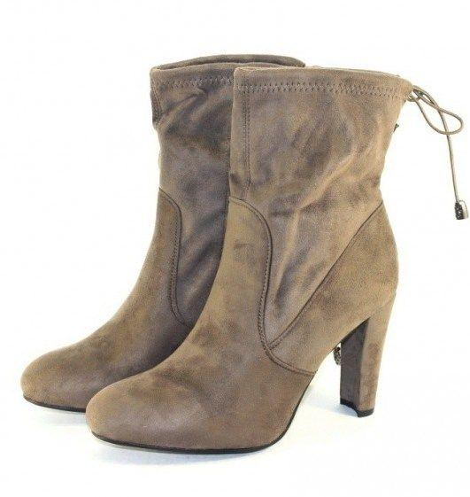 Ботинки весенние и осенние - Элегантные замшевые песочные ботинки E4873 CAMEL