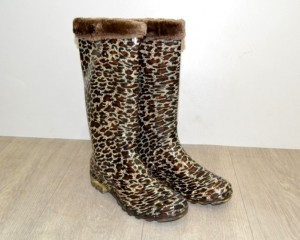 Тёплые силиконовые сапоги, сапоги с меховым вкладышем, купить силиконовые женские сапоги леопард